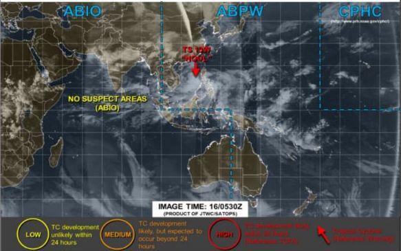 アメリカ米軍の合同台風警報センター(JTWC)の台風進路予想図