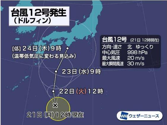 台風12号日本上陸予想図