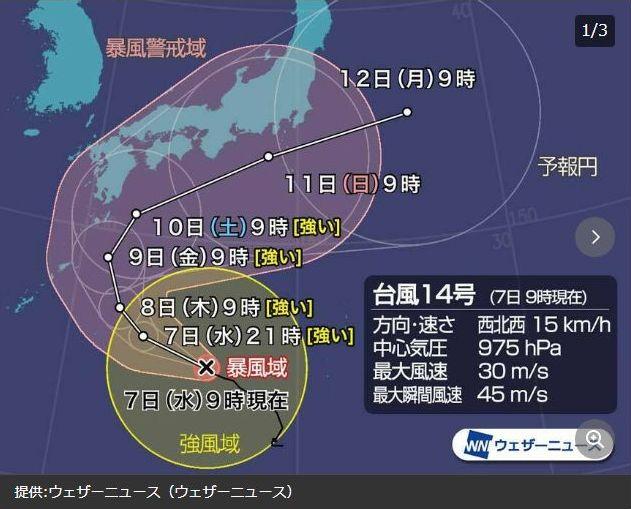 台風14号進路予想