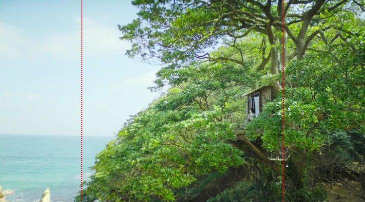 キリンの「淡麗グリーンラベル」の新CMで海を臨むツリーハウス