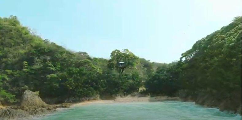 「淡麗グリーンラベル」新CMで海から見た入り江のツリーハウス【youtubeより】
